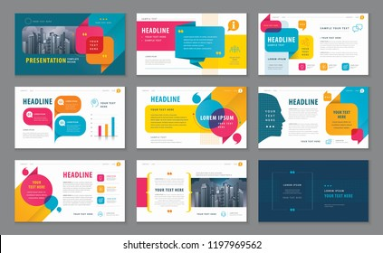 Abstract Presentation Templates, Infographic elements Template design set for Brochures, flyer, report, Questions and Answers, social networks, talk bubbles vector, profile, Website design, Webpage