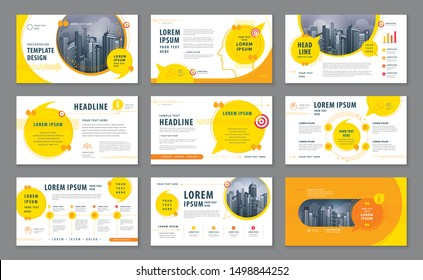 Abstract Presentation Templates, Infographic Yellow elements Template design set for Brochures, flyer, leaflet, invitation card, report, Questions and Answers, social networks, speech bubble, talk.