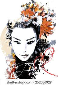 Abstract print with female face, painted elements and flowers