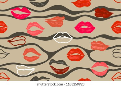 Abstract print with lips. Seamless vector pattern with colorful elements. Frendy design for textile and cards. Wavy on beige background.