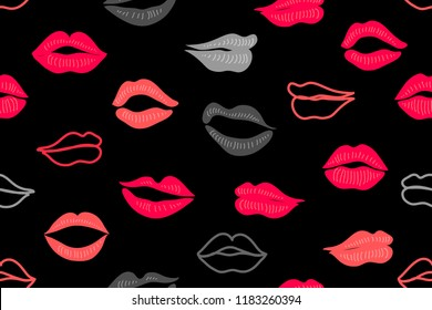 Abstract print with lips. Seamless vector pattern with colorful elements. Frendy design for textile and cards. On black background.