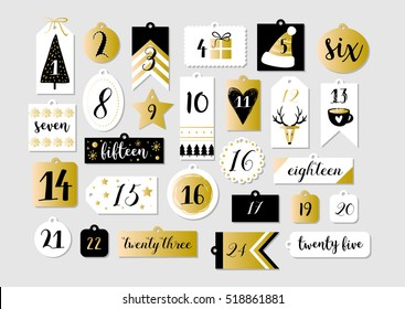 Abstract  printable tags collection for Christmas, New Year. Advent calendar. Vector illustration. Merry Holidays