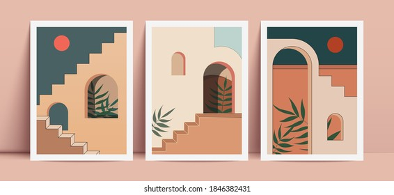 Abstract prints with elements of morrocan architecture. Wall decor in boho style. - Shutterstock ID 1846382431