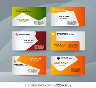 Abstract professional and designer business card template or clear and minimal visiting card set, name card colors background. Vector illustration EPS 10 for presentation slide banners