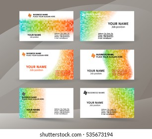 Abstract professional and designer business card template or clear & minimal visiting card set, name card white background with colors MOSAIC SQUARE. Vector illustration EPS 10 for presentation slide
