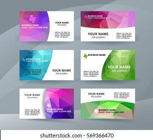 Abstract professional and designer business card one sided template or clear and minimal visiting card set, name card colors background. Vector illustration EPS 10 for presentation slide banners