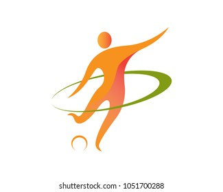 Abstract Professional Soccer Player Logo Illustration In White Isolated Background