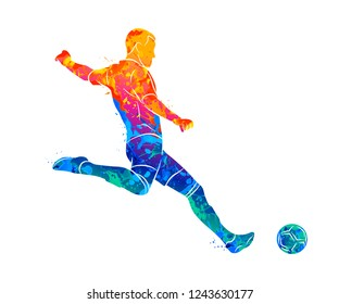Abstract professional soccer player quick shooting a ball from splash of watercolors. Vector illustration of paints