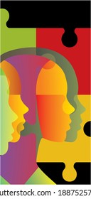 Abstract profiles with puzzle pieces. Vector illustration. - Shutterstock ID 1887525778