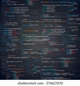 Abstract programming code screen. Different parts of algorithms of software developer. Vector background