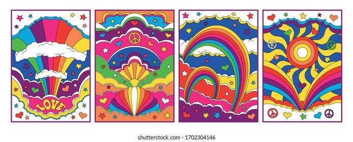 Abstract Psychedelic Backgrounds, Bright Outdoor Illustrations, Hippie Style Art, Rainbows, Skies, Clouds