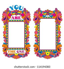 Abstract psychedelic border, picture frame, declaration of love.
