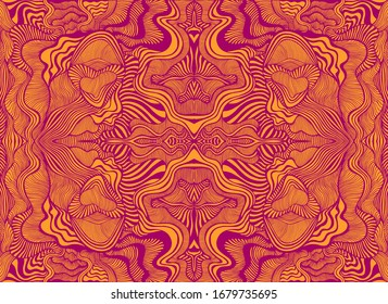 Abstract psychedelic fractal pattern, burgundy outline, orange color background. Surreal mandala with maze waves ornament. Shamanic fantasy texture. Vector organic texture.