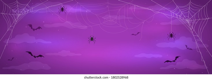 Abstract purple background with black spiders on cobwebs and flying bats. Illustration can be used for children's holiday design, cards, invitations and banners.