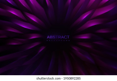 Abstract purple background. Concentric scale shapes backdrop. Vector 3d illustration. Organic radial pattern