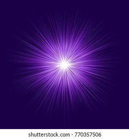 Abstract purple blast design on dark background - vector graphic