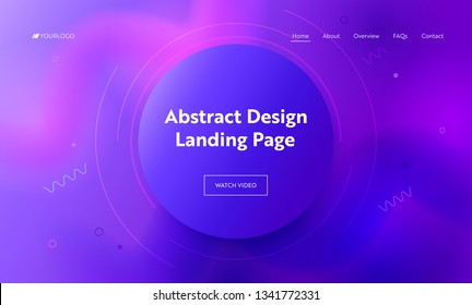 Abstract Purple Circle Landing Page Background. Trendy Minimalistic Pink Violet Gradient Shape Pattern. Creative Design Soft Line Element for Website Web Page. Flat Cartoon Vector Illustration