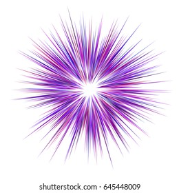 Abstract purple explosion design on white background - vector graphic