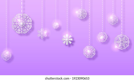 Abstract Purple Gradinet Background Winter With Snowflakes Shadows Vector Design Style Template
