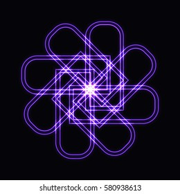 Abstract purple neon shape, futuristic wavy fractal of star and circle sign. Vector square or decorative element. Cool geometric illustration