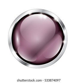 Abstract purple round background in a silver frame, with space for your text. Vector illustration, on transparent background