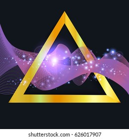 abstract purple wave in gold triangle with shine sparkles isolated on dark background