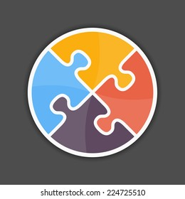 Abstract puzzle circle icon, design element for your logo, vector eps10 illustration