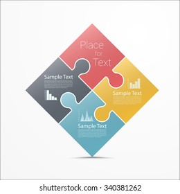 Abstract Puzzle infographic design. Eps10 vector for your design