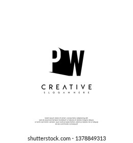 abstract PW logo letter in shadow shape design concept