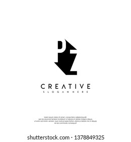 abstract PZ logo letter in shadow shape design concept