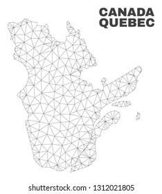 Abstract Quebec Province map isolated on a white background. Triangular mesh model in black color of Quebec Province map. Polygonal geographic scheme designed for political illustrations.