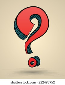 Abstract question mark sketch vector Illustration. Hand drawn sign. Can use for printing and web icons.Doodle style.