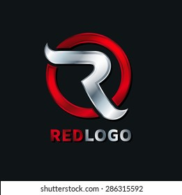 abstract R red logo concept of the letter to the company's logo, service graphics