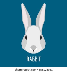 Abstract rabbit head isolated on blue background. Graphic cartoon grey rabbit portrait for design card, invitation, banner, book, scrapbook, t-shirt, poster, sketchbook, album etc.