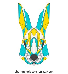 Abstract rabbit isolated on white background. Blue, yellow and grey blended colored polygonal triangle geometric illustration for use in design card, invitation, poster, banner, placard, billboard