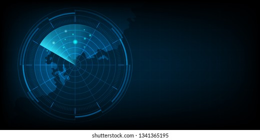 Abstract radar with targets, Digital realistic radar screen, Technology background, Vector illustration.