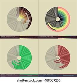 Abstract radial bar charts set with dummy data. Polar clock diagram. Data visualization vector images.