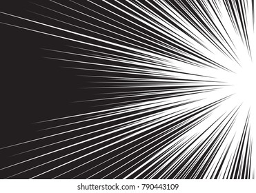 Abstract radial black line zoom speed light side on white for comic cartoon background vector illustration.