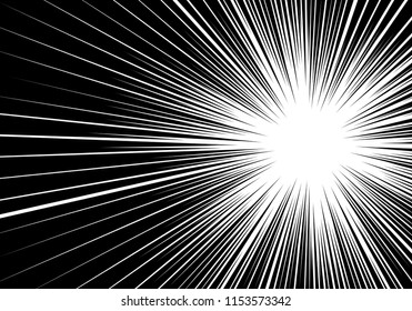 Abstract radial speed zoom side black line on white for comic background vector illustration.