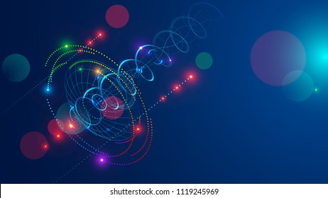 Abstract radio signal transmitted satellite dish . Directional signal radiates in sky shape a spiral and dots. Abstraction tech background. Satellite Communication concept.