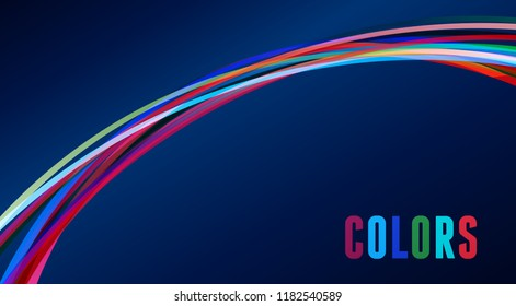 Abstract rainbow arc on a dark blue background. Vector graphic pattern