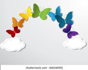 Abstract rainbow with butterflies