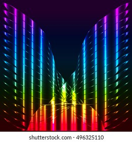Abstract rainbow butterfly, angel wings, vector background