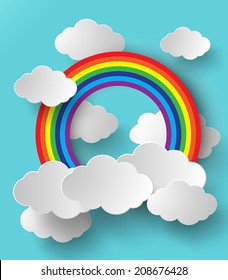 Abstract  rainbow and cloud om sky. paper art style.
