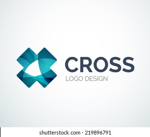 Abstract rainbow cross logo design made of color pieces - various geometric shapes