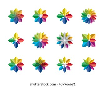 Abstract rainbow flower logo, geometric flora icon, set of colorful floral sign, gradient star collection isolated on white