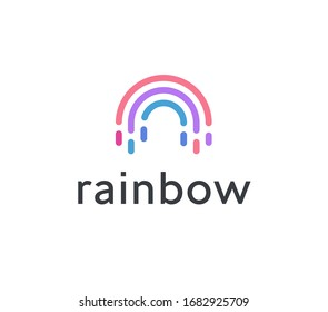 Abstract rainbow icon, colorful semicircle creative emblem. Dashes colored lines logo template. Concept of art logotype design for business, startup and nature. Vector logo.