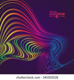 Abstract Rainbow Lines Design. Moving Colorful Lines Abstract Background for Posters / Flyers / Covers / Presentations/ Business Cards. Vector Illustration.