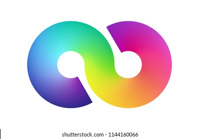Abstract rainbow mesh simbol background. Blurred colorful backdrop form of a infinity. Vector illustration for your logo, graphic design, template, banner, poster or website.