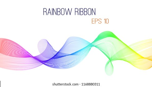 Abstract rainbow ribbon vector, eps 10. Colorful design on white isolated background.